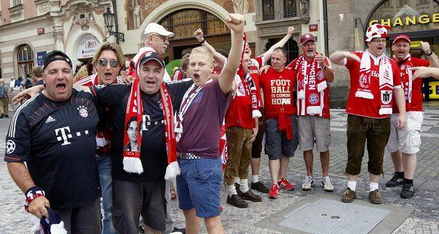 Fanoušci Bayernu Mnichov v centru Prahy.