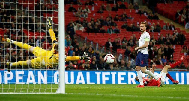 Angličan Harry Kane skóruje z penalty, Jiří Pavlenka si na míč jen sáhl.