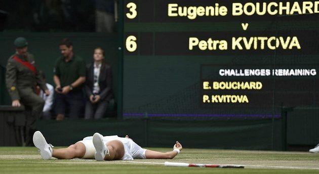 Petra Kvitová bezprostředně po proměněném mečbolu.