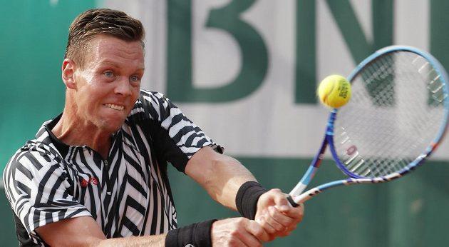 Tomáš Berdych při utkání 3. kola French Open, v němž jeho soupeřem byl Pablo Cuevasz Uruguaye.