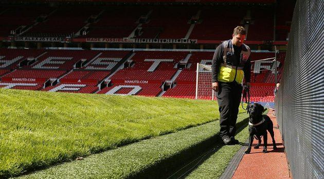 Speciálně vycvičený pes hledal na stadiónu Manchesteru United výbušninu.