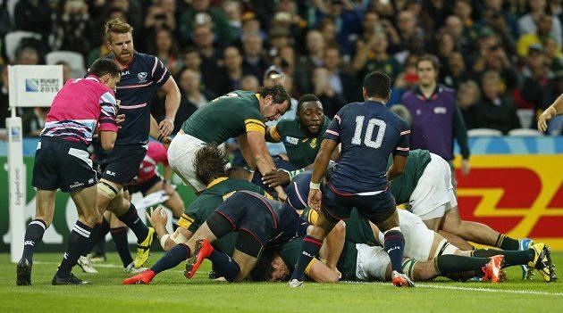 Utkání Jihoafrické republiky proti USA na ragbyovém MS.
