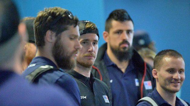 Česká hokejová se reprezentace je doma. Na snímku (zleva) jsou Michal Jordán, Roman Červenka, Richard Jarůšek a Jakub Jeřábek.