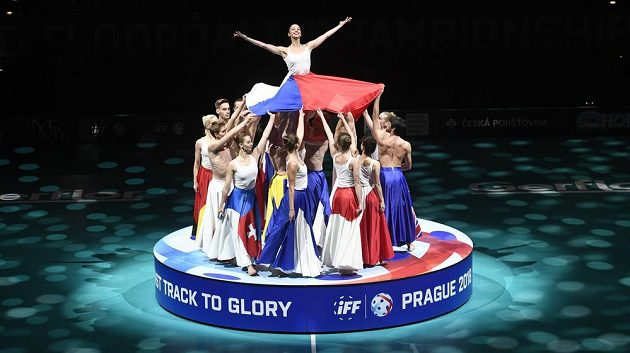 Mistrovství světa florbalistů, zahajovací ceremoniál, 1. prosince 2018 v Praze.