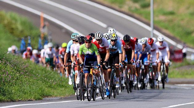 Peloton olympijského závodu v silniční cyklistice.