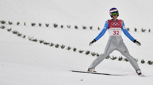 Z české čtveřice skokanů na lyžích v kvalifikaci na sobotní závod na středním můstku na olympijských hrách v Pchjongčchangu uspěli jen Roman Koudelka a Viktor Polášek. Čestmír Kožíšek (na snímku) neuspěl.