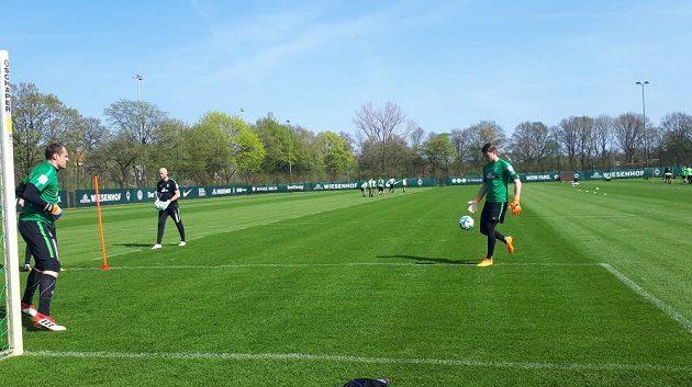 Čeští brankáři Jiří Pavlenka (vpravo) s Jaroslavem Drobným při tréninku Werderu Brémy.