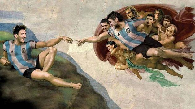 """Fotbalová verze """"Sixtínské kaple"""" v tělocvičně argentinského klubu Sportivo Pereyra."""