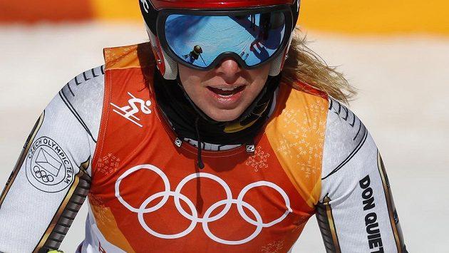 Ester Ledecká po zlatém olympijském závodu v super-G.