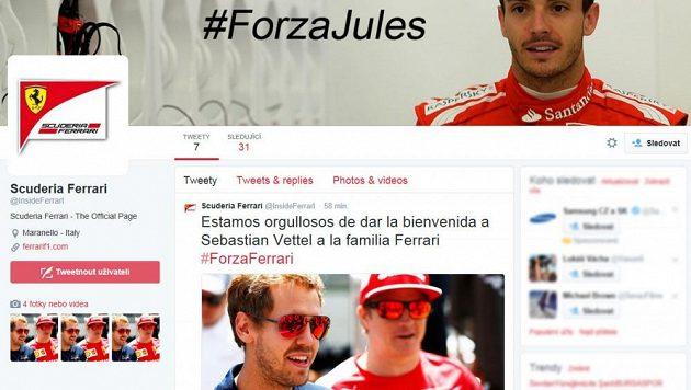 Falešný twitterový účet Ferrari, který oznámil příchod Sebastiana Vettela.