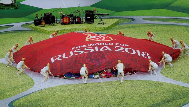 Zahajovací ceremoniál fotbalového MS v Rusku.