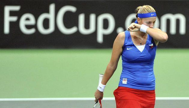 Petra Kvitová během souboje s italskou tenistkou Vinciovou.