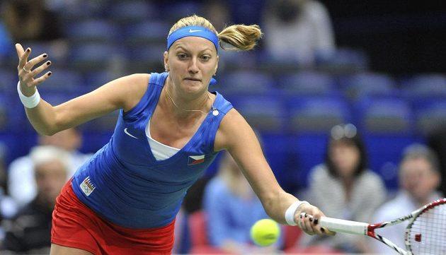 Petra Kvitová během fedcupového duelu proti Italce Vinciové.