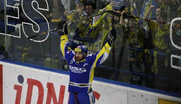 Zlínský útočník Bedřich Köhler slaví gól proti Plzni.