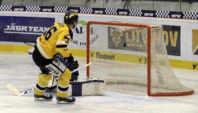 Litvínovský útočník Peter Jánský (ve žlutočerném dresu) střílí gól libereckému brankáři Marku Schwarzovi.