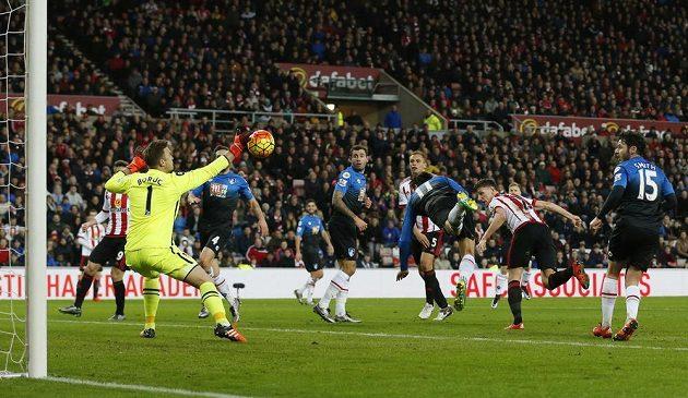 Polský brankář Artur Boruc ze Sunderlandu vyráží pokus Charlieho Danielse z Bournemouthu v zápase 23. kola anglické Premier League.
