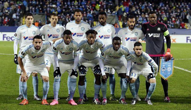 Hráči Olympique Marseille před zápasem Evropské v Liberci.