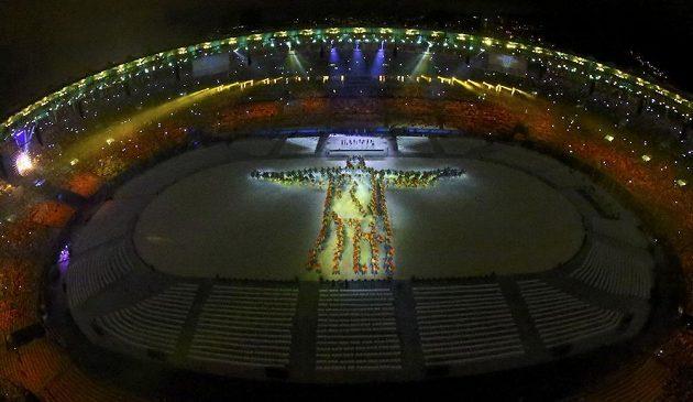 Snímek z úvodní pasáže slavnostního zakončení her v Riu.