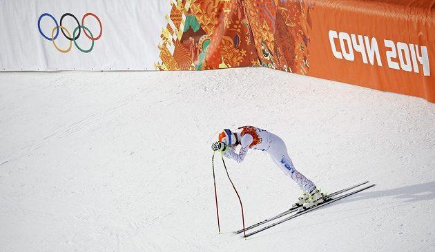 Zklamaná reakce Bodeho Millera v cíli olympijského sjezdu.