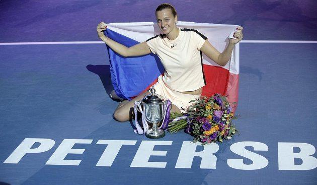 Česká tenistka Petra Kvitová si po triumfu v Petrohradu užívala radosti.