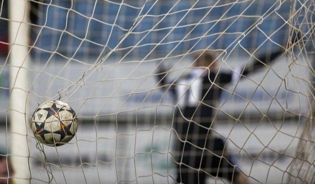 Míč v síti brány Teplic. V pozadí střelec gólu Michal Škoda z Budějovic.