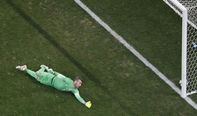 Chorvatský brankář Stipe Pletikosa (na snímku) inkasuje gól z kopačky Brazilce Neymara v zápase skupiny A světového šampionátu ve fotbale.