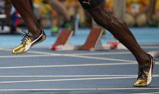 Zlaté tretry, se kterými si Jamajčan Usain Bolt doběhl pro zlatou medaili na trati 100 metrů.