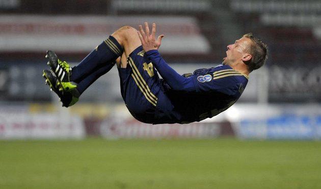 Adam Varadi z Olomouce se raduje z vyrovnávacího gólu proti Mladé Boleslavi.