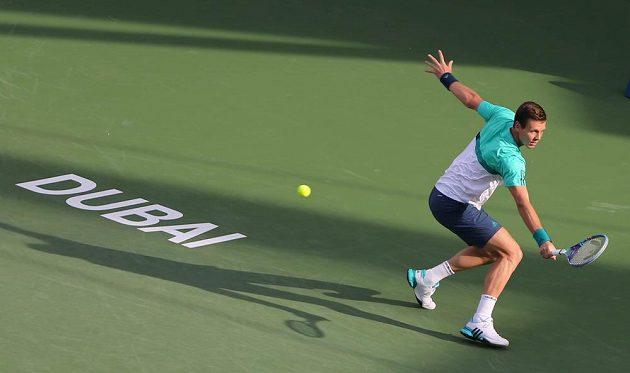Český tenista Tomáš Berdych během utkání prvního kola turnaje v Dubaji s Portugalcem Joaem Sousou.