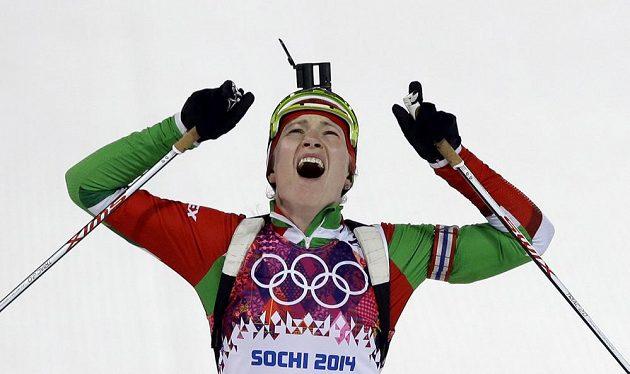 Běloruská biatlonistka Darja Domračevová, už trojnásobná olympijská vítězka ze Soči.