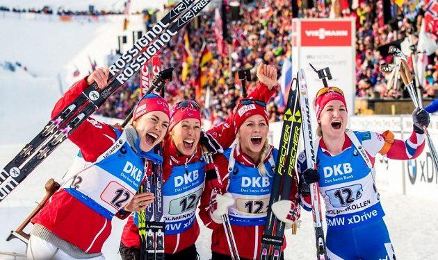 Jásající vítězné kvarteto Norska.