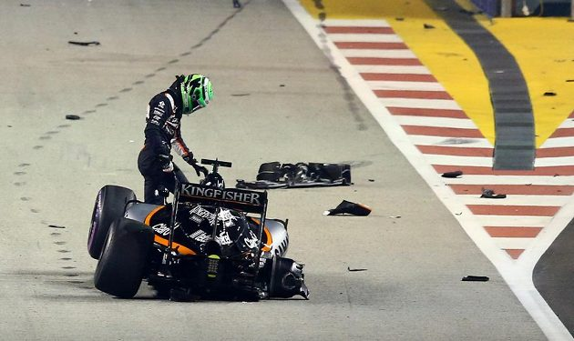 Pro Nica Hülkenberga ze stáje Force India závod v Singapuru záhy skončil.