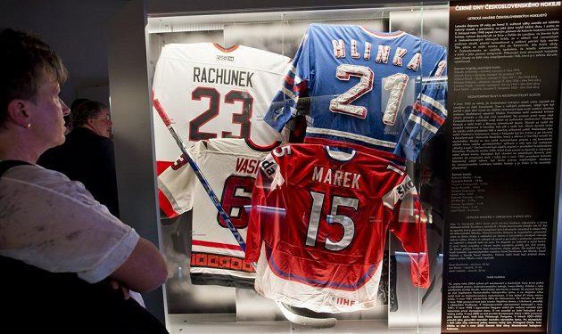Vitrína připomínající černé dny československého hokeje. Jsou v ní dresy Karla Rachůnka, Josefa Vašíčka a Jana Marka, kteří tragicky zahynuli při letecké havárii u Jaroslavli v roce 2011, a dres Ivana Hlinky, tragicky zesnulého při autonehodě u Karlových Varů v roce 2004.
