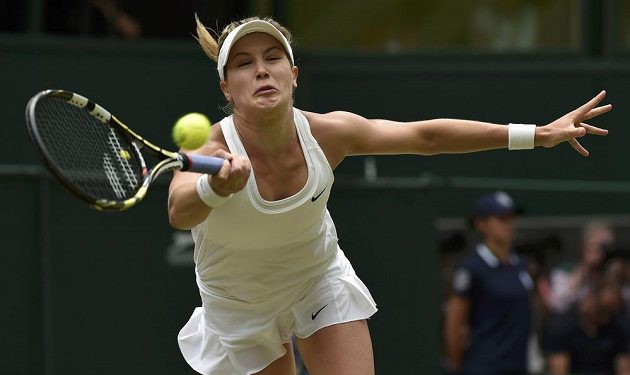 Kanaďanka Eugenie Bouchardová během finále Wimbledonu.