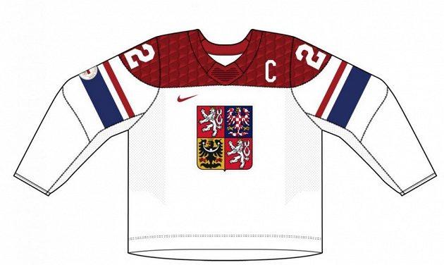 Bíla varianta dresů české hokejové reprezentace pro ZOH 2022 v Pekingu.