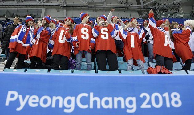 Fanoušci ruských hokejistů v Pchjongčchangu.