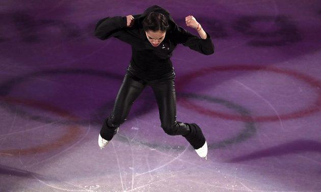 Jevgenija Medveděvová při exhibici také neoblékla sukni.