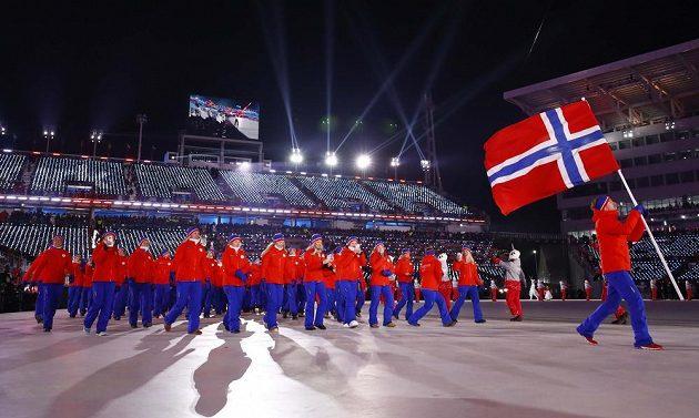 Slavnostní zahájení olympjských her v Jižní Koreji, nástup Norska.