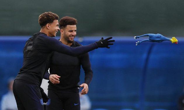 Anglický fotbalista Dele Alli (vlevo) se v rámci rozcvičky na tréninku připravoval s kohoutem.