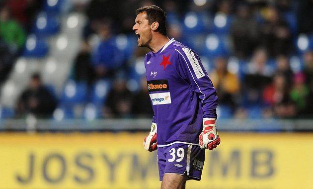 Slávistický brankář Radek Černý během utkání s Mladou Boleslaví.