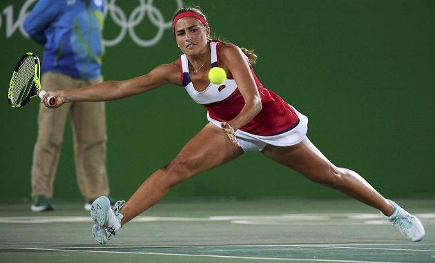 Portoričanka Monica Puigová během olympijského finále proti Němce Angelique Kerberové.