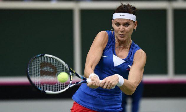Tenistka Lucie Šafářová ve finále Fed Cupu proti Německu.