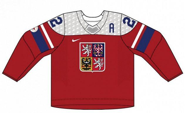 Červená varianta dresů české hokejové reprezentace pro ZOH 2022 v Pekingu.