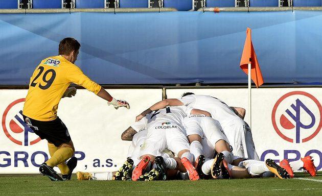 Fotbalisté Slovácka se radují z gólu.