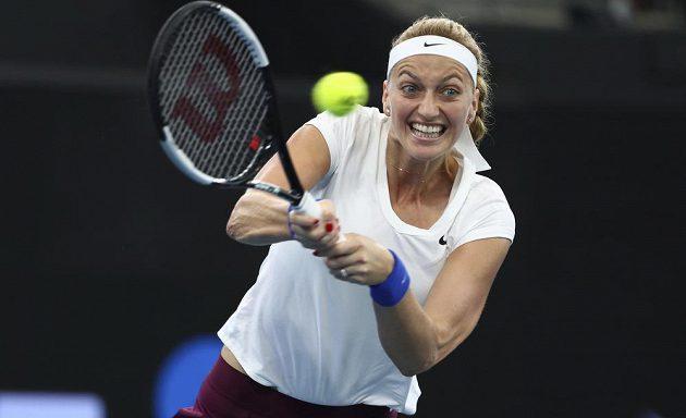 Petra Kvitová v semifinálovém klání s Madison Keysovou.