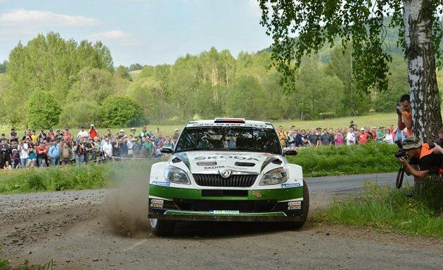 Jan Kopecký se Škodou Fabia S200 na trati Rallye Český Krumlov 2012.