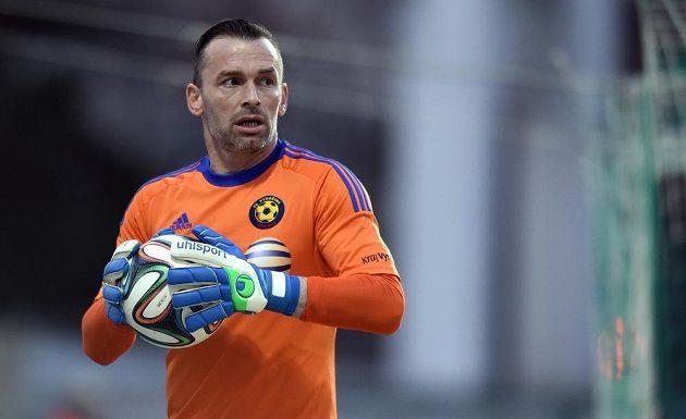 Jihlavský brankář Jaromír Blažek během utkání na Bohemians.