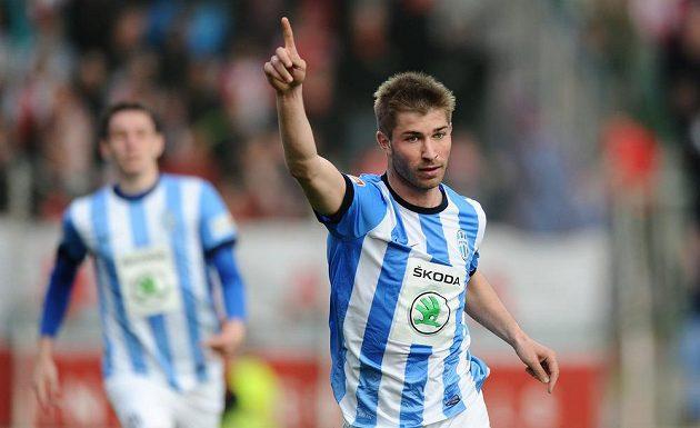 Mladoboleslavský útočník Pavel Šultes se raduje ze vstřelení gólu proti Slavii Praha v dohrávce 22. kola Gambrinus ligy.
