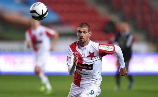 Martin Juhar ze Slavie Praha během utkání 27. kola Gambrinus ligy s Příbramí.