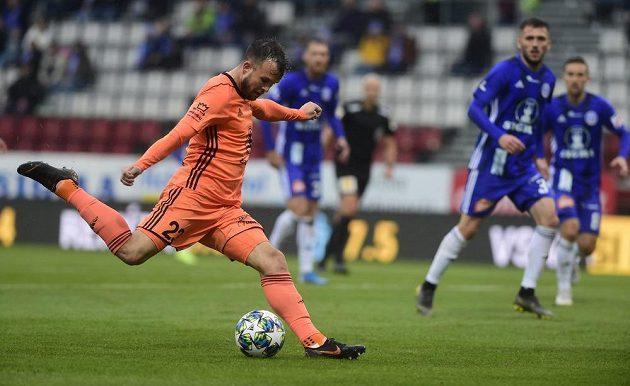 Mladoboleslavský fotbalista Lukáš Budínský se v Olomouci zapsal mezi střelce gólů.